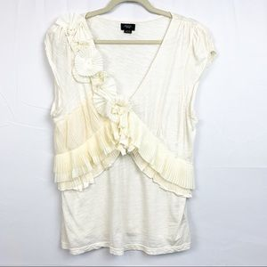 Anthropologie | Deletta White V Neck Flower XL